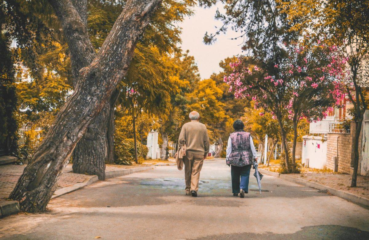 An elderly couple walking down a tree lined road